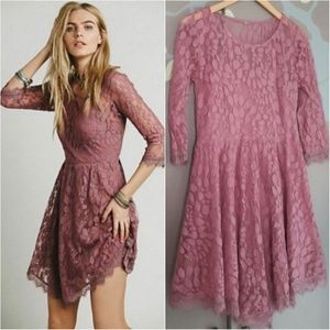 Free People floral lace 3/4 sleeve dress